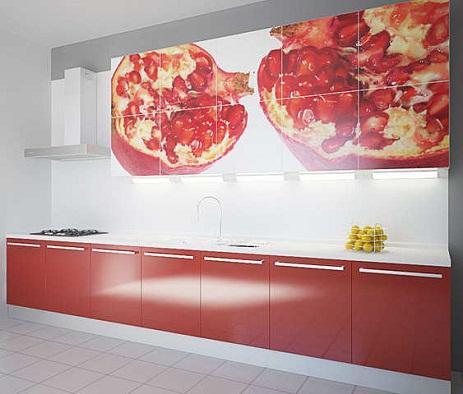 Фотообои в интерьере кухни. Гранат