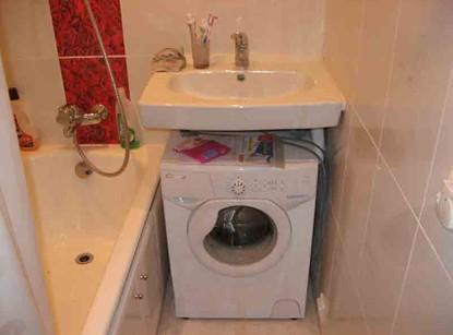 дизайн в ванной комнате  3 кв. м. Умывальник со стиральной машиной