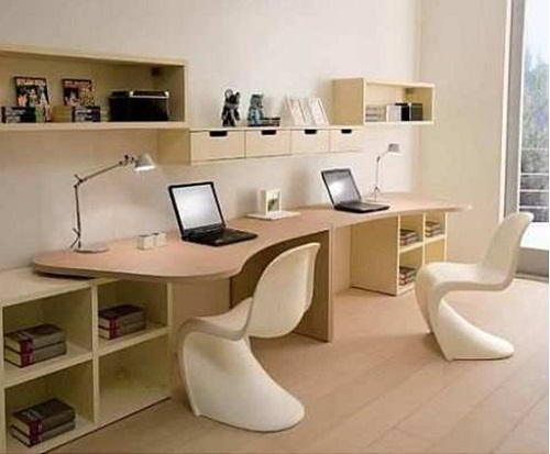 Дизайн комнаты для двоих детей. рабочая зона