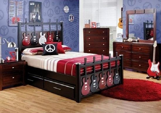 Дизайн комнаты для подростка мальчика в стиле РОК 1