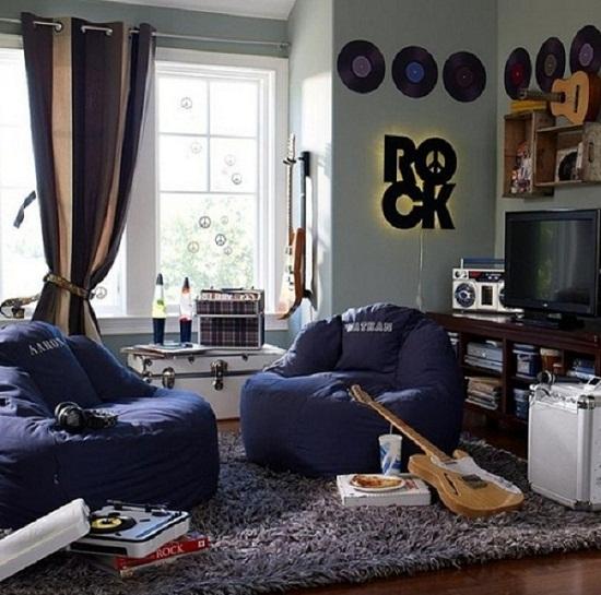 Дизайн комнаты для подростка мальчика в стиле РОК 2