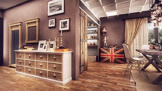 Дизайн квартиры студии в английском стиле