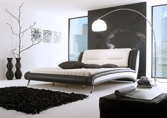 Дизайн спальни в черно- белом цвете