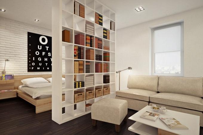 Дизайн квартиры студии с открытой мебелью 2
