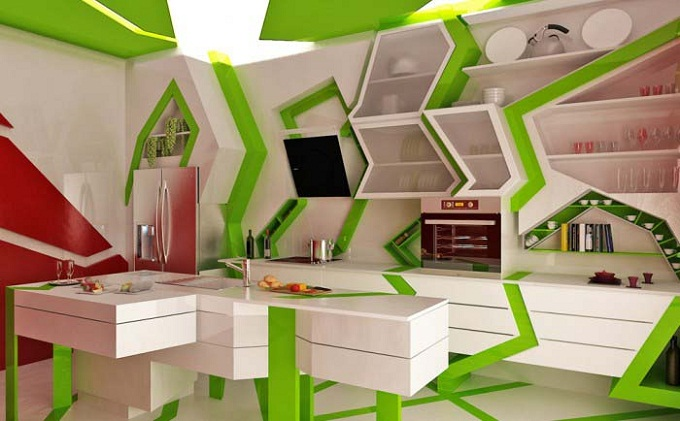 Дизайн кухни в стилях Хай-Тек и Модерн
