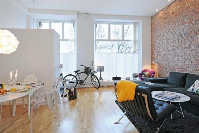 дизайн квартиры студии с  рабочей зоной