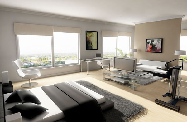 Master-bedroom-with-fitness-equipment-and-living-area
